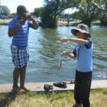 Kids fishing in Starkweather Creek